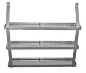 Three tier spice rack in hammered steel finish with black wooden shelve