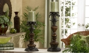 Giftcraft Brown Polstone Pillar Candle Holders