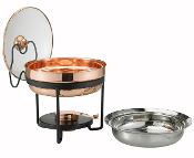Copper Chafing Dish w/Glass Lid 2 Qt