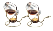 7 by 4-Inch Brandy Warmer with Tea Light, Set of Two