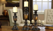 GiftCraft Set of 3 Polystone Candle Holders