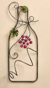 Metal Wall Wine Bottle Holder - Red Grapes