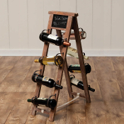 Wood And Metal Bottle Holder With Chalk Board