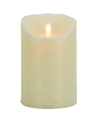 "Mystique Moving Flame Flameless candle 5"" Ivory Smooth"