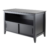 Logan TV Stand, Open Storage, Wood sliding doors