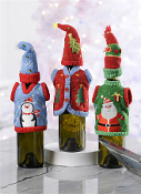 Holiday Sweater & Cap Wine Bottle Decoration, Set of 3