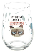"Grumpy Cat Stemless Wine Glass-"" Eat Drink and Be Miserable"""