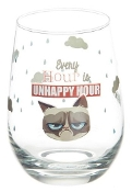 "Grumpy Cat Stemless Wine Glass-"" Every Hour Is Unhappy Hour"""