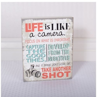 Adams and Co. Wood Sign, Life is like a Camera