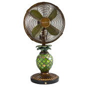 "10"" Table Fan - Mosaic Glass Pineapple"