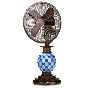 "10"" Table Fan - Mosaic Glass Azure"