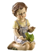 Gift Craft Polyresin Boy Statuary with Solar Light