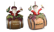 Santa Claus on Wine Barrel Christmas Tree Ornaments