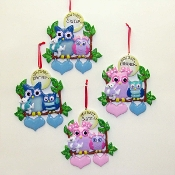 Ceramic New Baby Sibling Owls Ornaments
