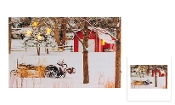 Lighted Canvas Christmas Tractor and Barn Farm Scene