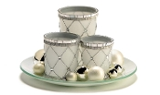 Giftcraft Votive Candle Jars W/ Tray & Mini Ornament Balls