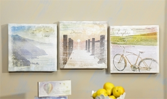 Wanderlust Canvas Wall Decor, Set of Three