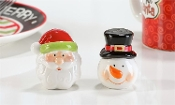 Ceramic Santa/Snowman Salt & Pepper Shakers 2pc. Set