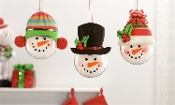 Shatterproof Snowman Head Design Ornament, 3 Designs