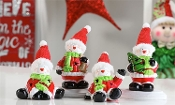 LED Lighted Snowman Santa Figurine Set of Four