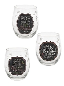 Let It Flow, Wine Lover Stemless Wine Glasses, Set of Thee