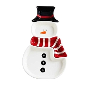 Snowman Dish Hat Head Scarf Body Ceramic 4 Pc 14""