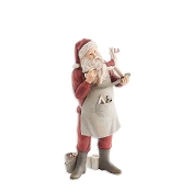 12 Inch Resin Santa Painting a Rocking Horse Statue