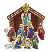 Wooden Nativity Stable with 9 Figures, 8.5-Inch