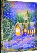 Winter Chapel Fiber Optic Lighted Artwork