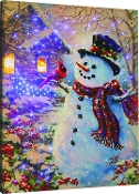 Snowman and Feathered Friend Lighted Artwork