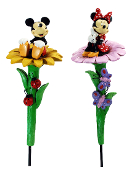 Mickey Mouse Or Minnie Mouse In A Flower Garden Stake