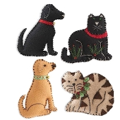 Christmas Felt Cat and Dog Christmas Tree Ornaments
