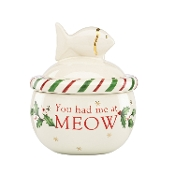 Holiday Pet Cat Treat Jar, Ivory