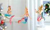 Mermaid Christmas Tree Ornaments Set of Three