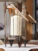 Pillar Candle Holder with Rustic Arrow Design