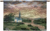 Wall Hanging-Sunrise Chapel Fiber Optic Tapestry w/Remote