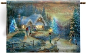 COUNTRY CHRISTMAS HOMECOMING Lighted Tapestry by Thomas Kinkade