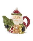 Ceramic Santa Tea Pot with Tree and Gifts