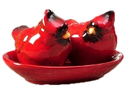 Ceramic Cardinal Salt and Pepper Shaker with Tray