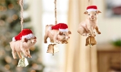 Polyresin Pig and Bell Design Ornament