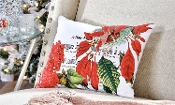 Fabric Christmas Poinsettia Design Pillow