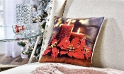 Fabric LED Lighted Poinsettia and Candle Pillow