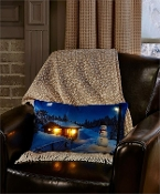 LED Winter Cabin Pillow