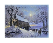 Deer Near Country Bridge in Winter LED Canvas