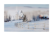 LED Canvas Print of a Country Church in Winter