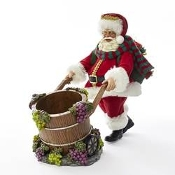 Kurt Adler 10-Inch Fabriché Santa with Barrel Wine Bottle Holder
