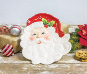 Santa Face and Holly Decorative Plate