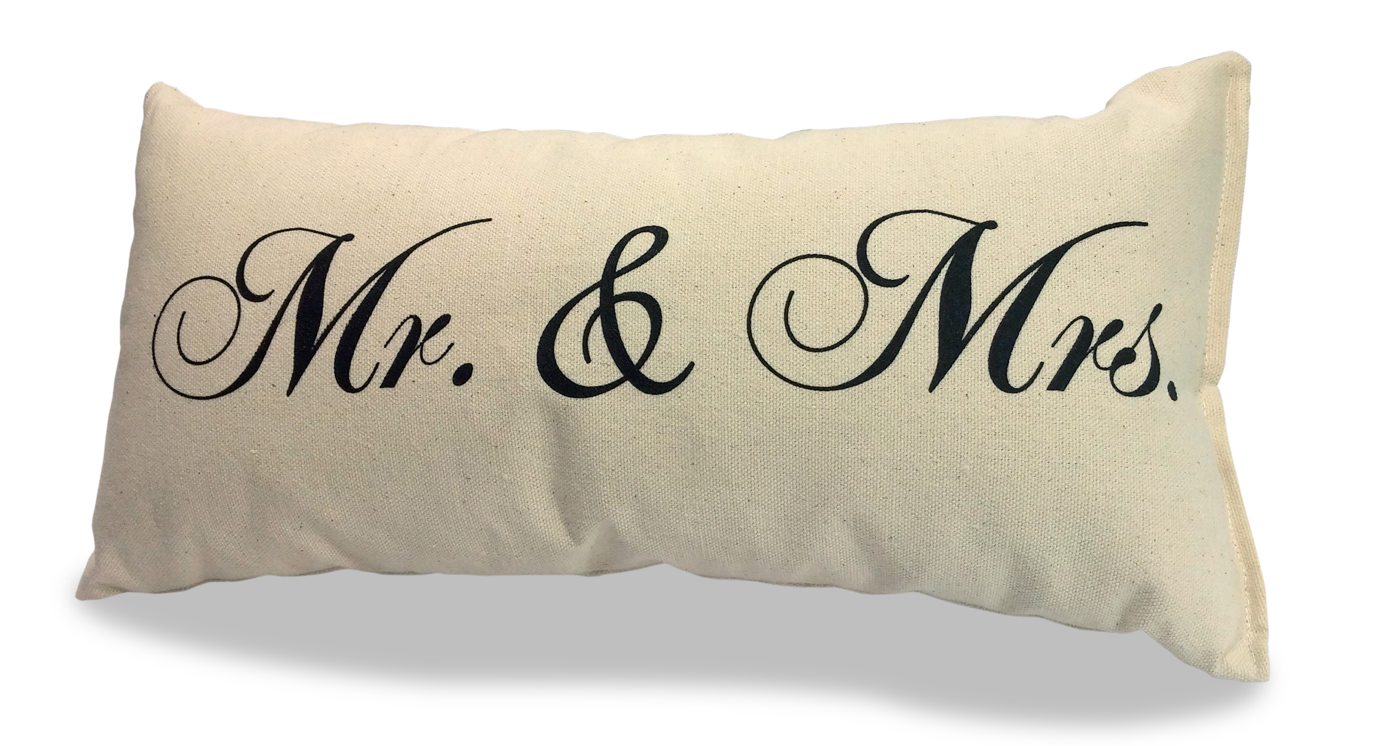"Mr and Mrs Pillow 100% Natural Canvas 8"" x 15"""