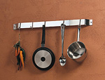 Bright Chrome Bar Rack with chrome hooks holding pots and utensils