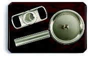 Cigarro Ash Tray Set with Stainless Steel Cigar Cutter